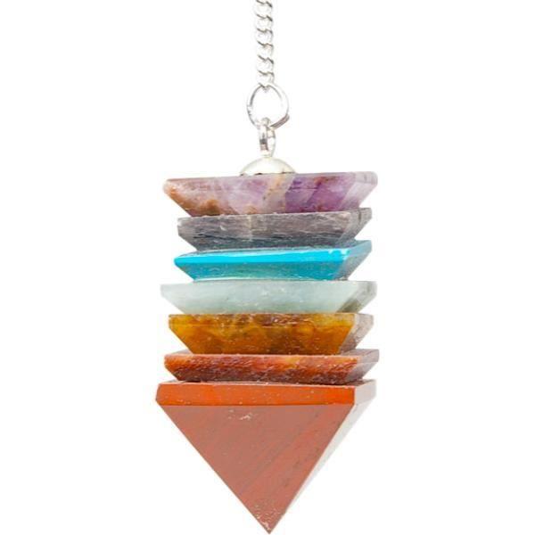 Pendule pyramide 7 chakras unique Multicolore