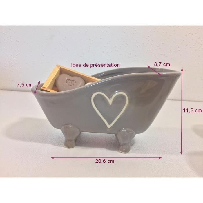 baignoire r tro d corative porte savon en c ramique couleur gris et coeur cr me 20 6x11 2x8. Black Bedroom Furniture Sets. Home Design Ideas