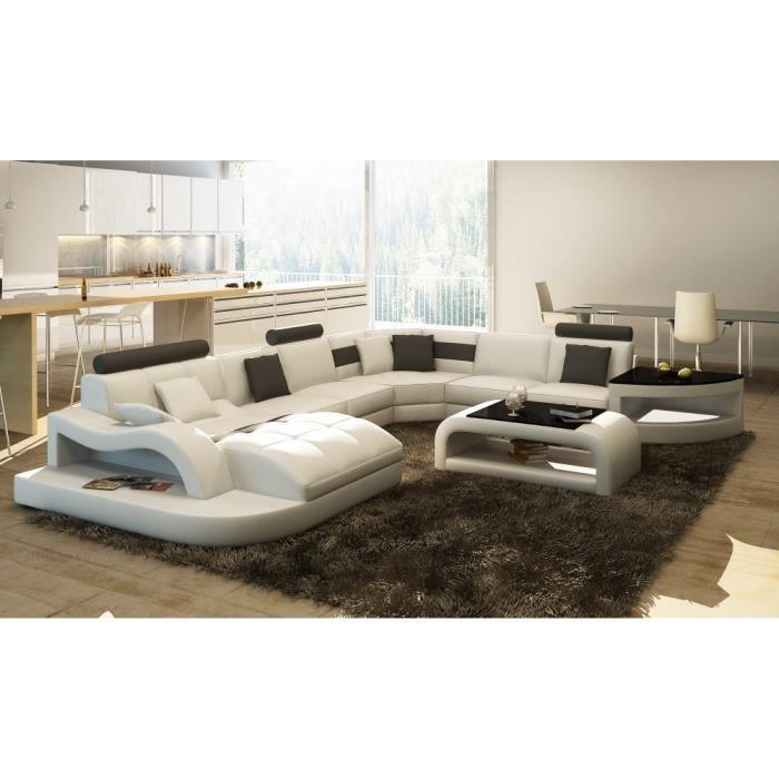 canap d 39 angle en cuir italien 8 places nordik et achat. Black Bedroom Furniture Sets. Home Design Ideas