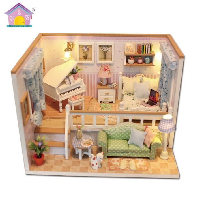 Maison De Poupées En Bois Bricolage Maison Miniature Kit Bonheur