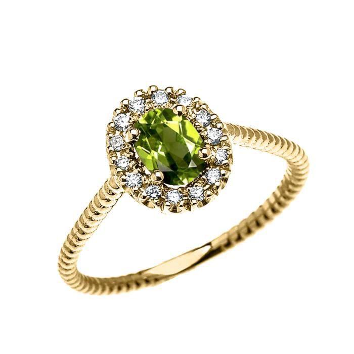 Bague Femme 14 Ct Or Jaune Diamant Et Ovale Péridot Solitaire Conception De Corde