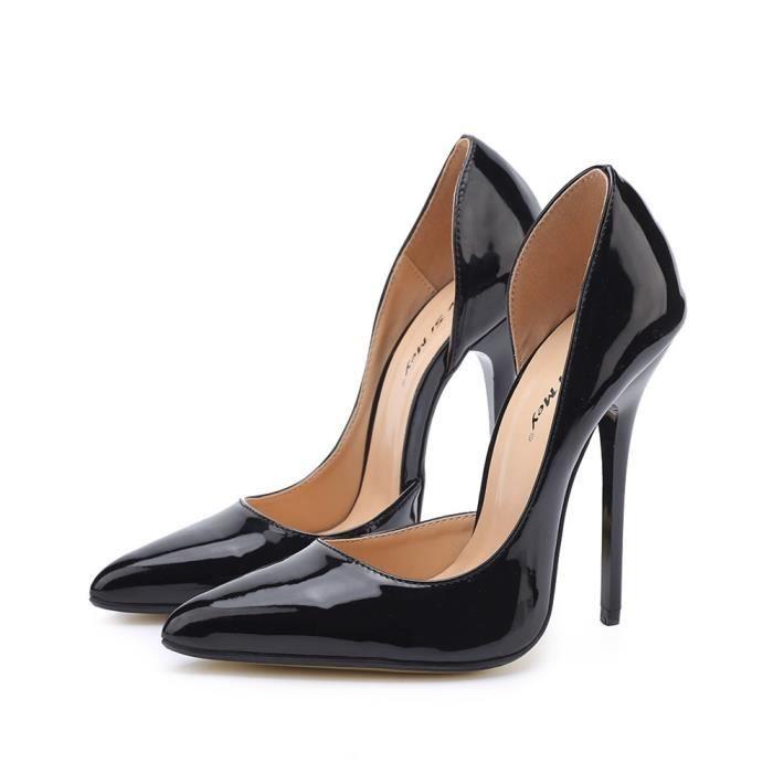 Femmes Chaussures 14cm extrêmes Talons Stiletto Heels Noir de mariage Mode Pompes fétichistes Taille Plus 40-49