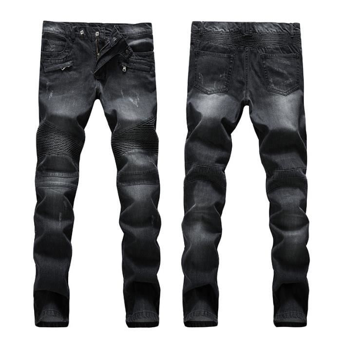 hip hop jeans homme ray moto marque luxe droit slim fit. Black Bedroom Furniture Sets. Home Design Ideas