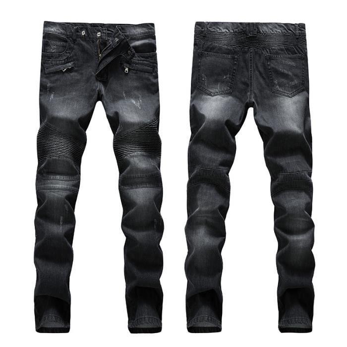 hip hop jeans homme ray moto marque luxe droit slim fit pantalon poche homme noir noir achat. Black Bedroom Furniture Sets. Home Design Ideas
