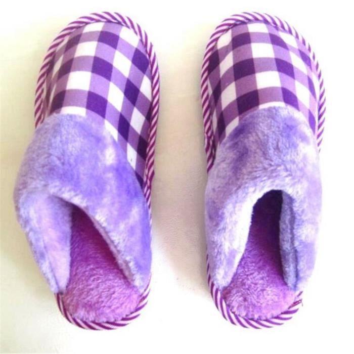 treillis Chaussons femme hiver chaud maison agréable Chausson hiver chaud doux pantoufles Confortable mode Plus Taille 35-40