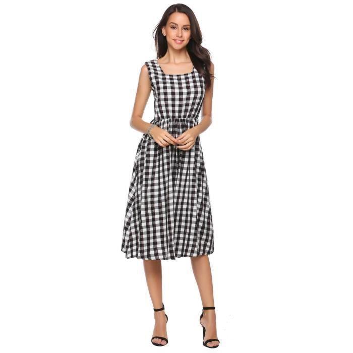 Femmes sexy robe sans manches Elastic haute taille plissé