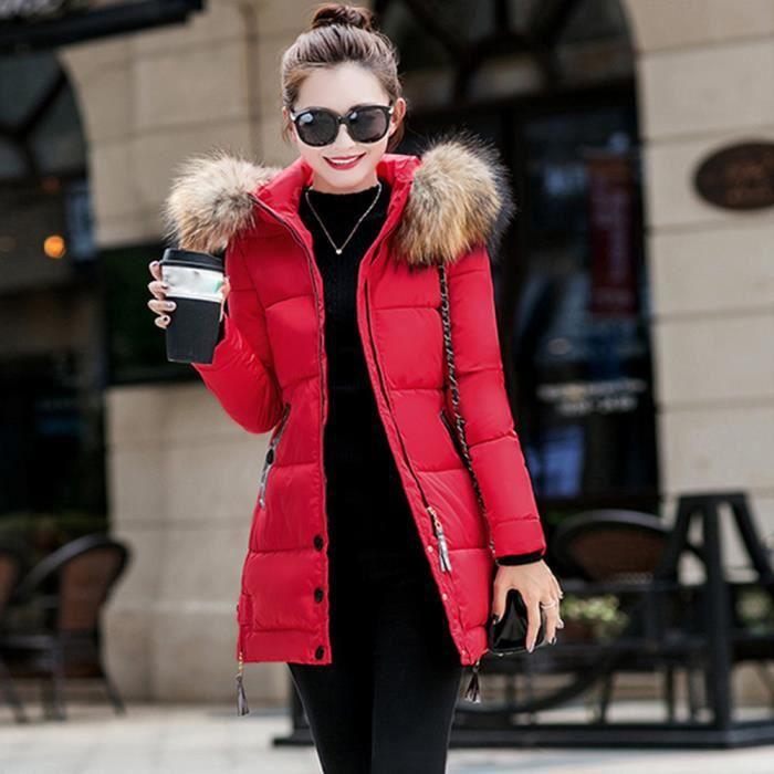Bas Femmes Dames Long Chaud Vers Outwear Veste Capuche À rouge Le Hiver Manteau Mince Parka xpWYrApwq