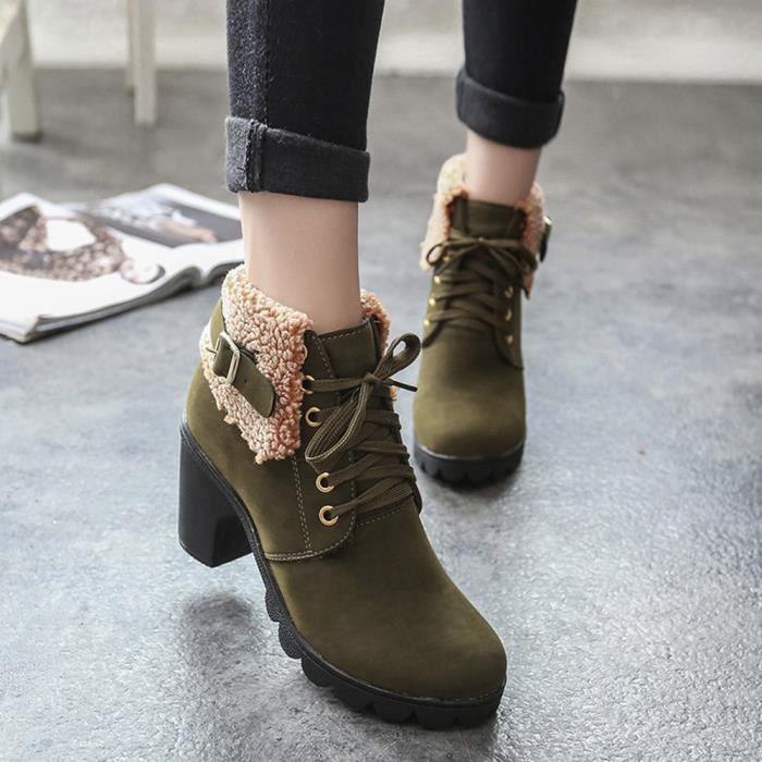 f636a6a95842 Pour Rw906 Femme Talons Bottes Chaussures D hiver Lacets Martin Peluche  Hauts Bottines En B5TqAwT