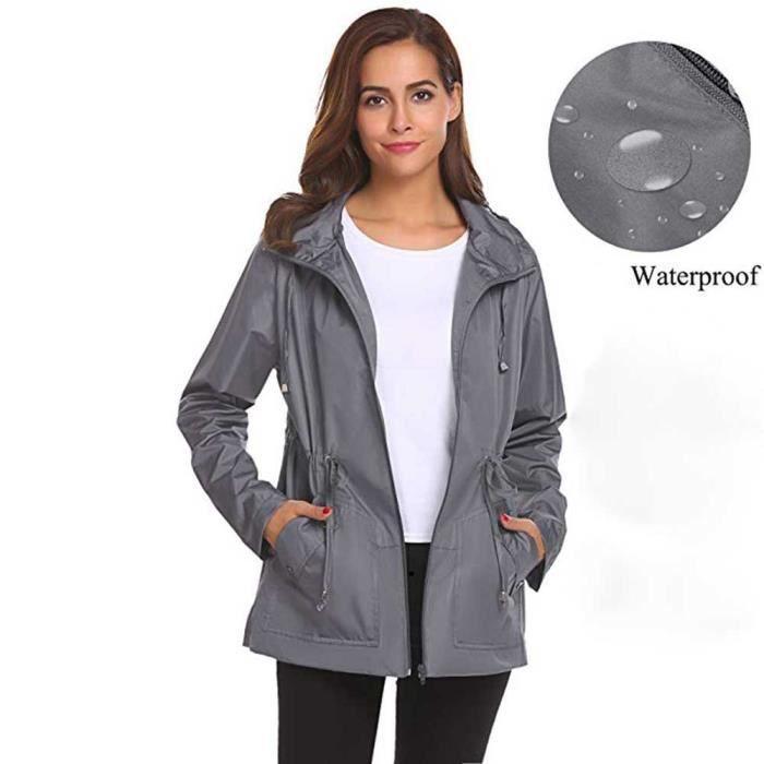 6ada7a8c24e61 MARIOYUZHANG Femmes extérieur imperméable légère Raincoat capuche ...
