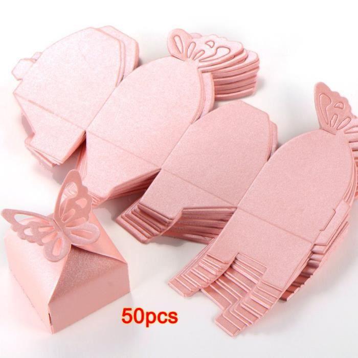 50pcs Papillon Decoration Boite a Dragees Mariage Bapteme