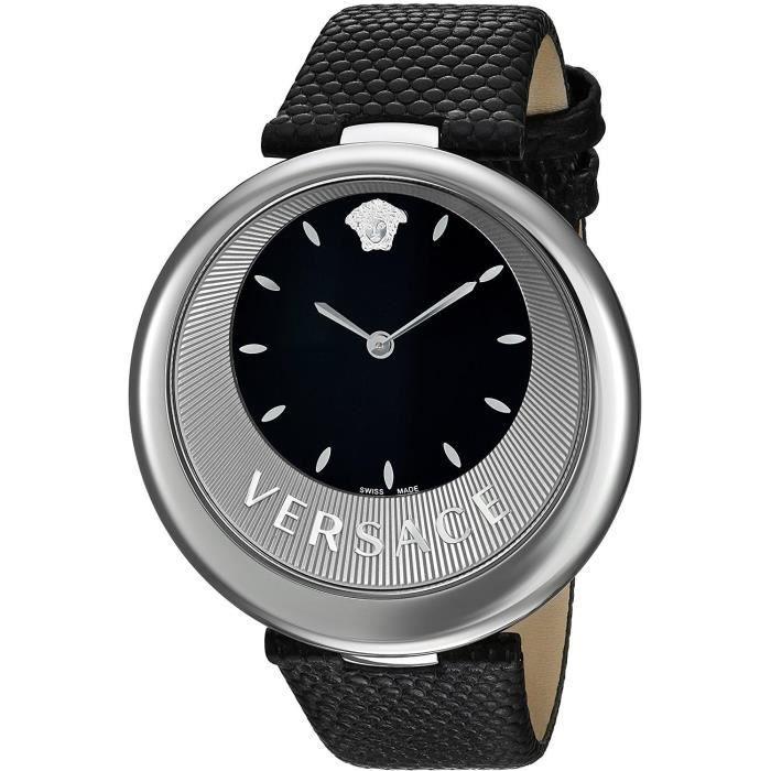 Versace Femme 40mm Bracelet Cuir Noir Saphire Quartz Montre VAQ010016 93ddf463b4e