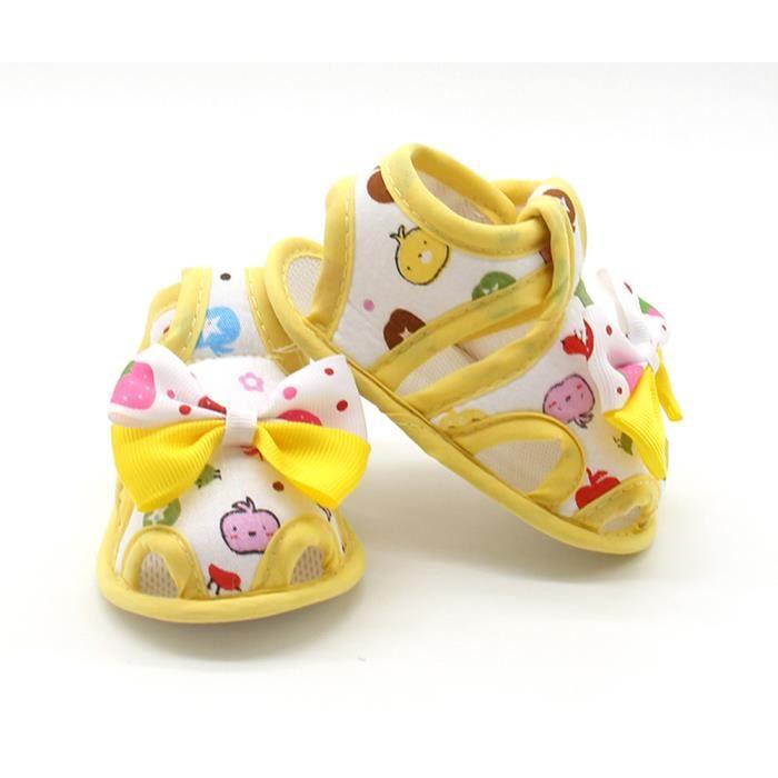 Napoulen®Bébé filles d'été Chaussures Bow douce semelles enfants Sandales anti-dérapant JAUNE-XPP2017324