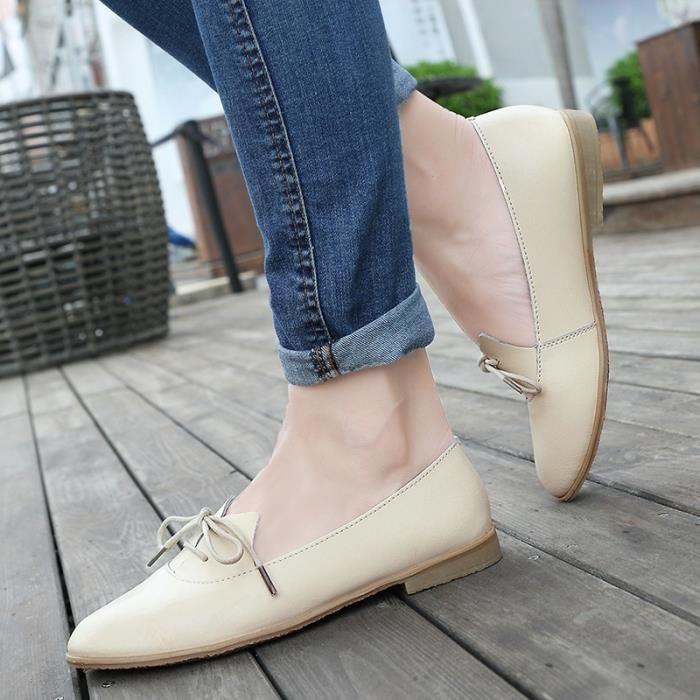 Femmes Oxford Chaussures Pointu Flats Toe Chaussures Femmes solides Chaussures en cuir véritable Mocassins à lacets Mocassins
