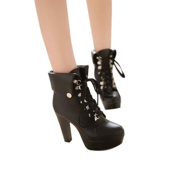 Bout Lacets Rond Chaussures Sexy Femme forme frenchshop1743 Cheville Bottes Mode Plate Talon Haut Courtes Sqza8p4w