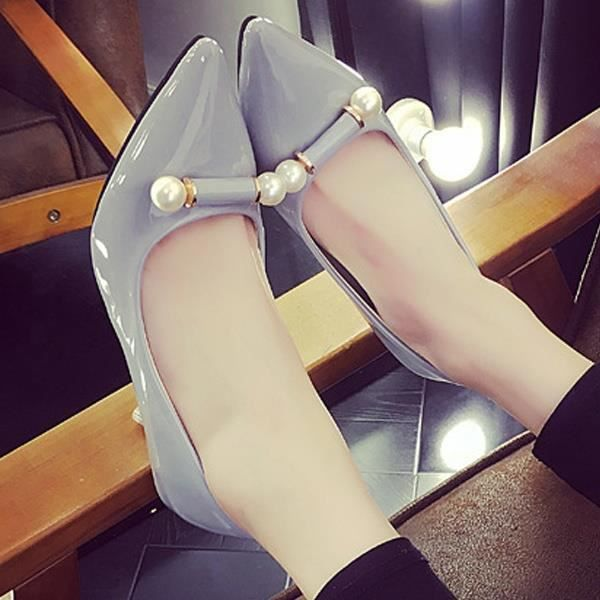 Escarpin Rose 7 élégantes perle bowknot unique Toe Stiletto Pointu Mid Heel Asakuchi carrière