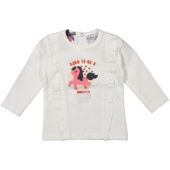 DIRKJE T-shirt Licorne Blanc Avec une Licorne Rose Bébé Fille