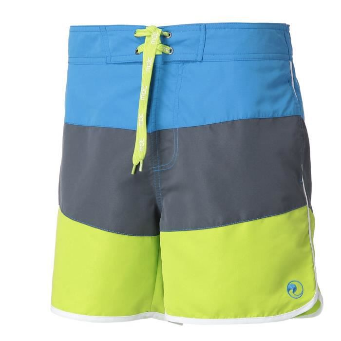 MONDACA Short de bain homme tricolore - Bleu / Bleu foncé / Vert