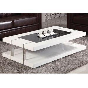 Table Basse DESIGN laqué blanc + verre trempé - Achat / Vente table ...