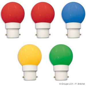 GUIRLANDE LUMINEUSE INT blister 5 ampoules led b22 couleurs