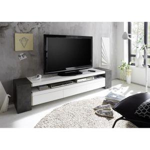 MEUBLE TV Meuble TV décor béton avec 3 tiroirs laqué blanc m