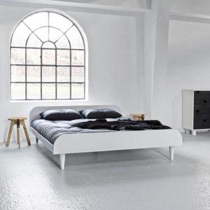 FUTON Lit futon twist en bois blanc 140x200