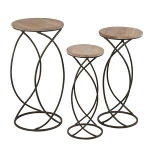 TABLE D'APPOINT Lot de 3 sellettes gigognes rondes - FACTORY - L 3