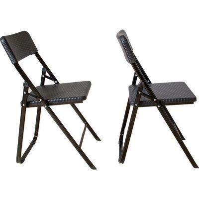 2 chaises pliantes, lot de 2 chaises de camping, imitation rotin noir