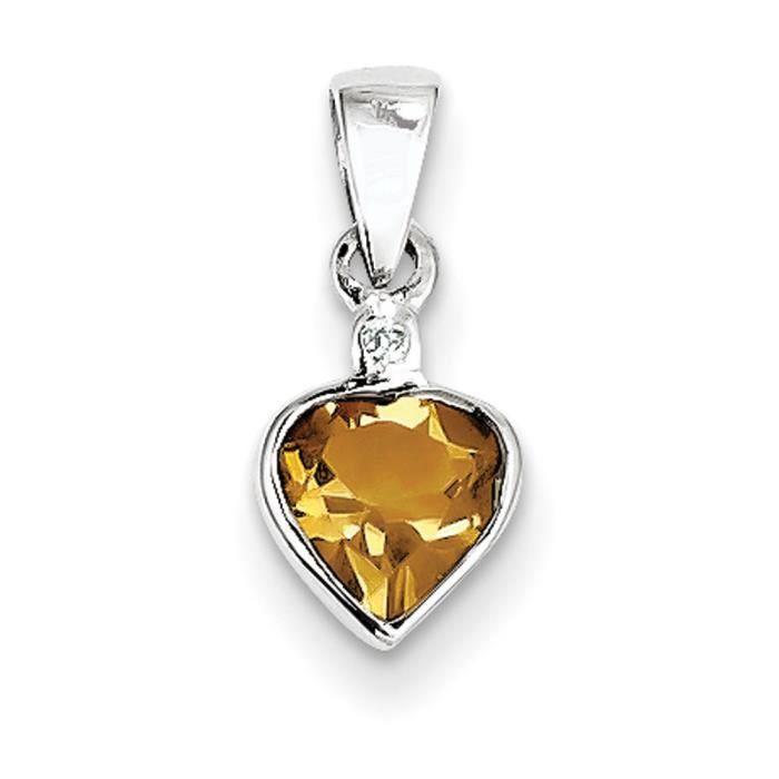 Rhodium argent Sterling Diamant Pendentif Citrine Brute