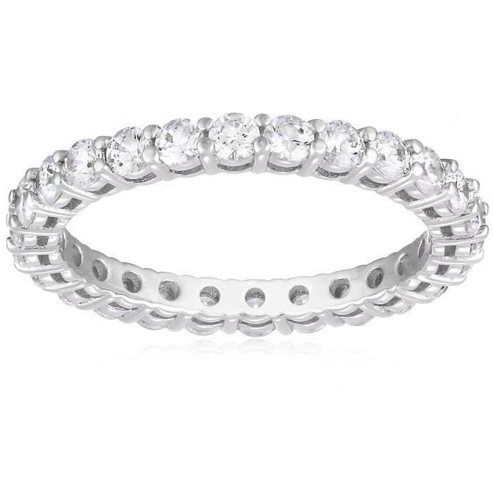 Jewel Panda Platinum-plaqué en argent sterling Swarovski 1 cttw Round All-Around Ring, Taille 7