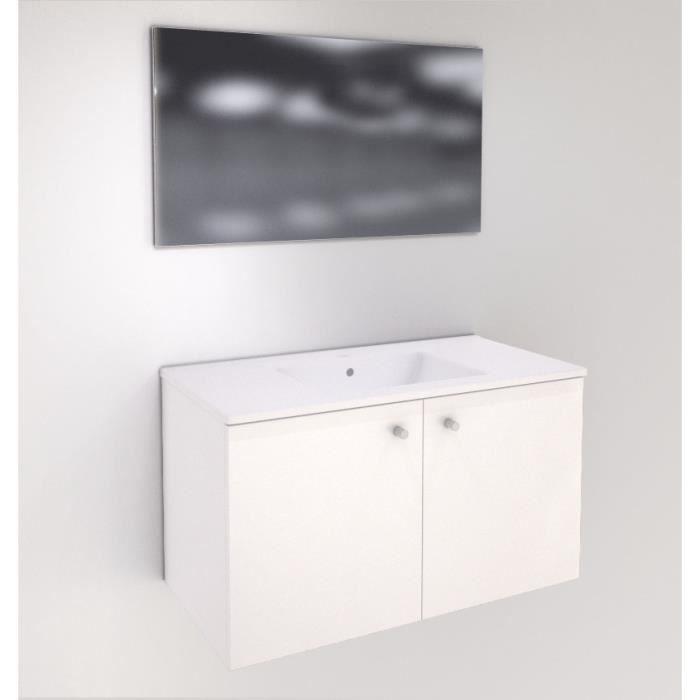 Meuble 2 portes 90 cm + plan vasque céramique - Blanc - Achat ...