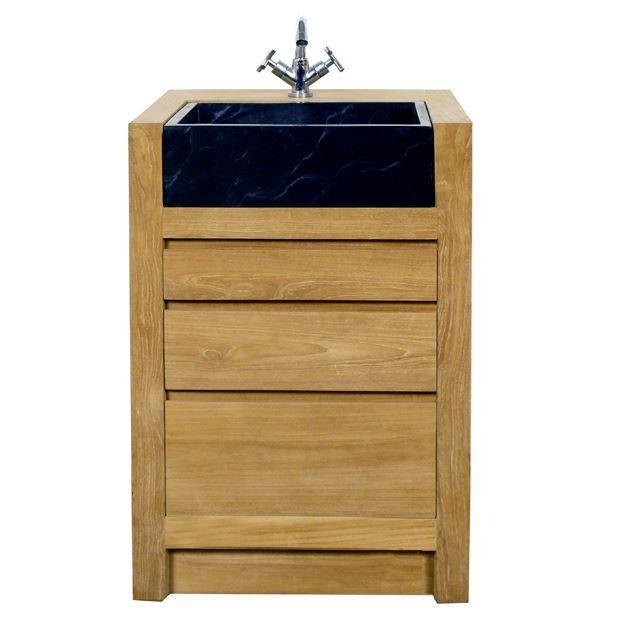 meuble salle de bain en teck 60 cm