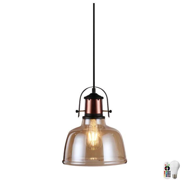Rgb Led Suspendu Télécommande Luminaire Dans Lampe Vintage L'ensemble Salon Plafonnier Verre Couloir 0Xw8PkNnO