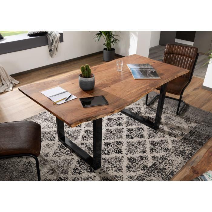Table A Manger 220x100cm Bois Massif D Acacia Laque Fer Brut Bois Naturel Design Moderne Naturel Freeform 3