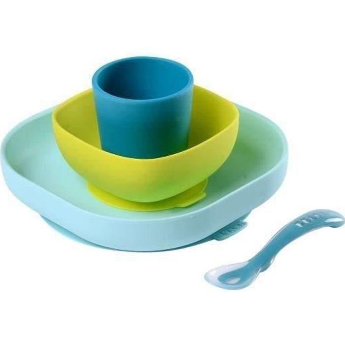 COUVERTS BÉBÉ BEABA Set vaisselle silicone 4 pièces - blue