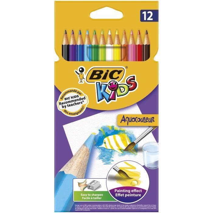 CRAYON DE COULEUR BIC Kids Aquacouleur Crayons de Couleur Aquarellab