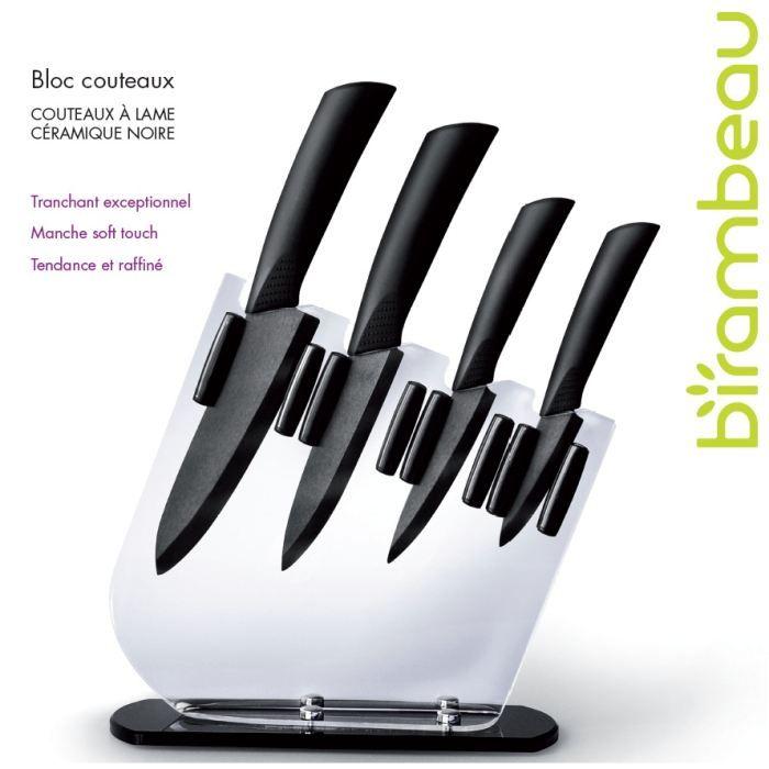 bloc 4 couteaux lame c ramique noire achat vente couteau de cuisine bloc 4 couteaux lame. Black Bedroom Furniture Sets. Home Design Ideas