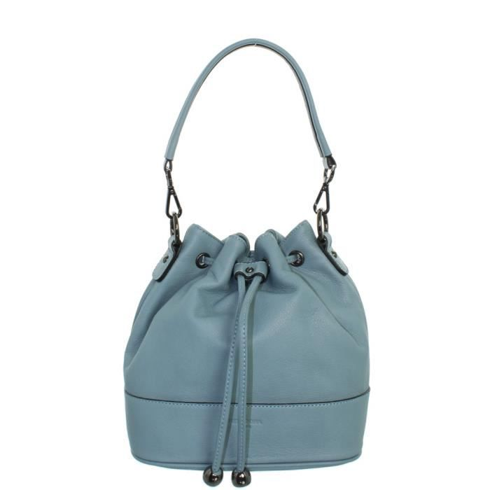 Sac à main Hexagona en cuir ref_xga43160-bleu clair-24*23*11 Turquoise