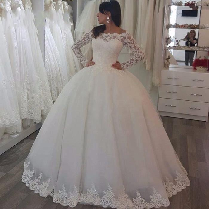 sur Long Lace mesure Luxe Robes mariée noiva Lace up mariée de Robes de de vestido 0wp7qE