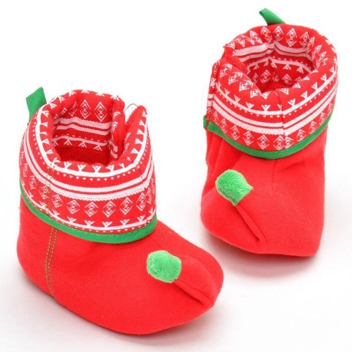 Napoulen®Garçon fille chaussure de Noël chaussures bottes semelle anti-dérapante Soft-XPP2017404