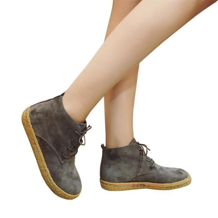 Frankmall®Femmes Soft Flat cheville Martin bottes en daim cuir dentelle-up bottes Gris NYZ70825556GY