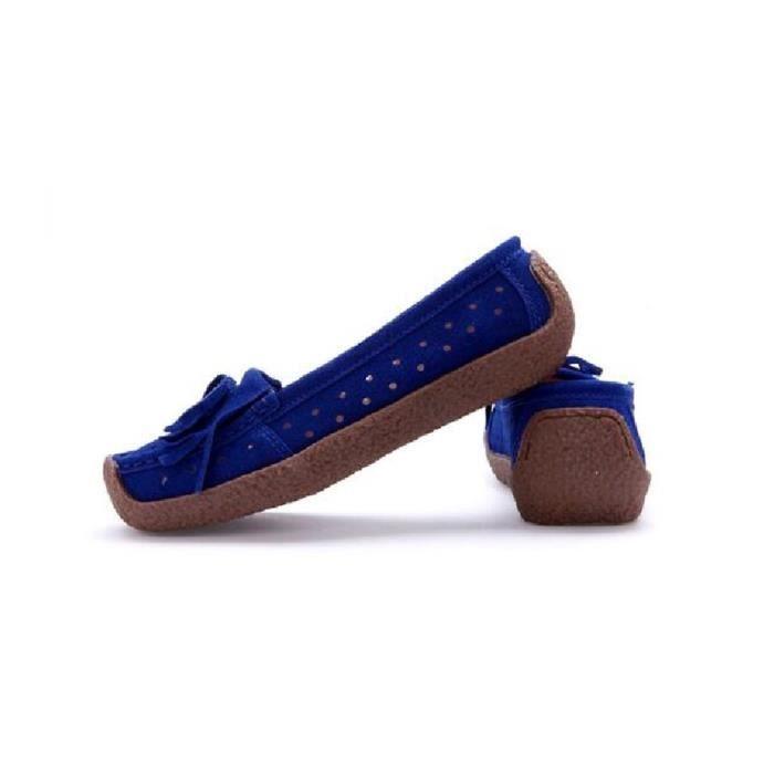 Moccasin Femme Marque De Luxe csemelles de Caoutchou Chaussure Pour Femmes RéSistantes à L'Usure Plus De Couleur,bleu,34