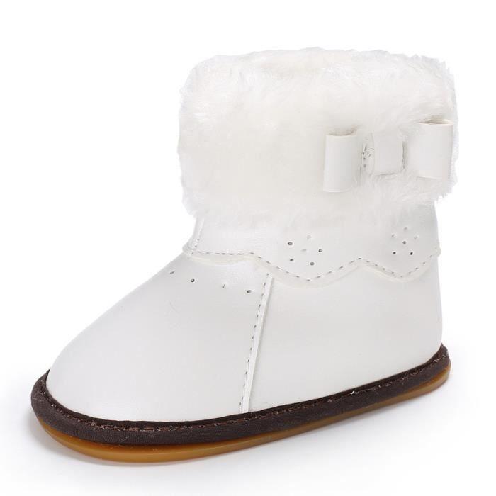 BOTTE Bébé Laine Bowknot Caoutchouc Semelle Souple Bottes de Neige Doux Berceau Chaussures Bottes Tout-Petits@BlancHM 8zZc9frH