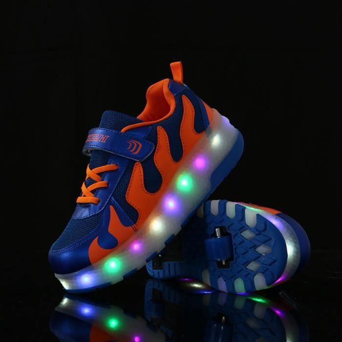 Skate Chaussure LED Fille Garçon Basket à Roulettes LED Heelys Lumineuse Patins à Roulettes Fermeture Par Velcro VxIxqXyUM