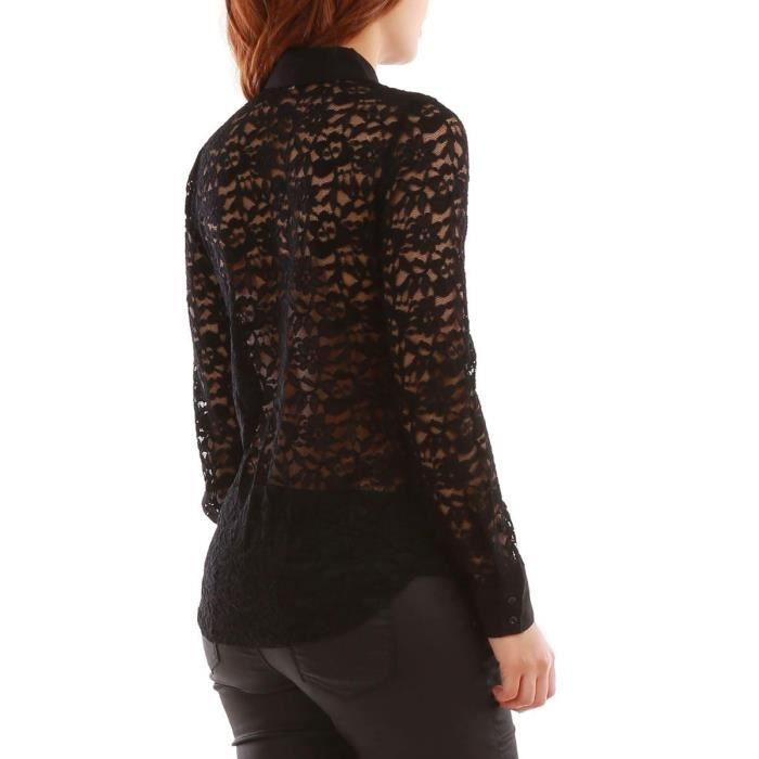 Chemise dentelle noire avec ruban à nouer-M Noir Noir - Achat ... 03617141ca1