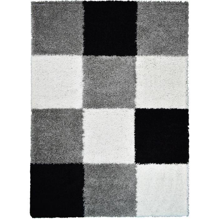 TAPIS NORA Tapis de salon shaggy - 200 x 280 cm - Noir à