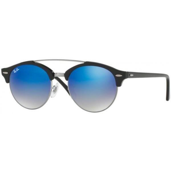 90aeafef31e760 Lunettes de soleil Ray-Ban CLUBROUND Double Bridge Noir et Bleu RB4346  RB4346 62507Q 51 19