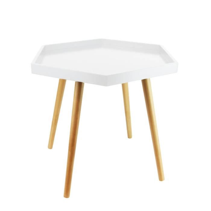 Table basse blanche avec plateau hexagonal Autres Blanc - Achat ...