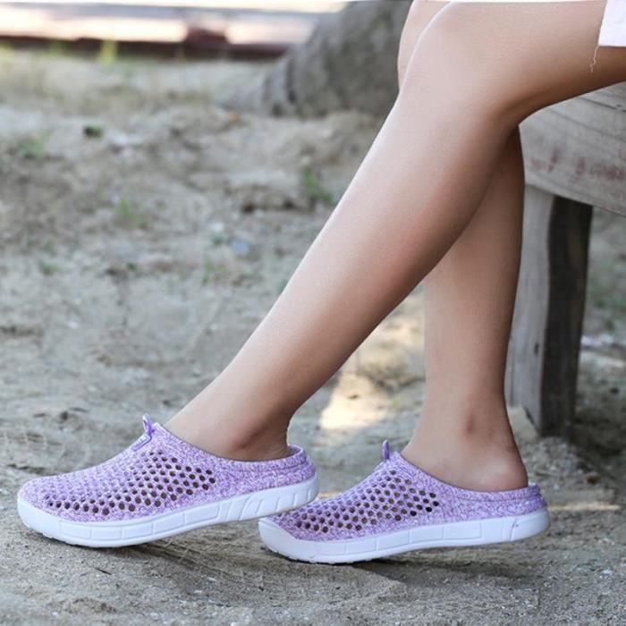 Nouveauté Mules Femme Chaussures Plates Casuel Violet zt3Axg7Om