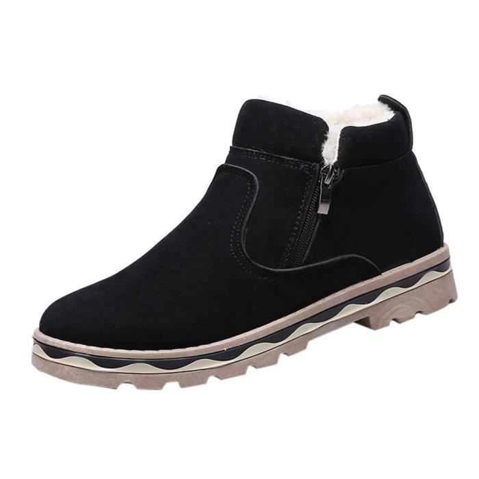 Hommes Hiver Cuir Chaud Neige Cool Sneakers Angleterre Zip Chaussures BottinesNoir PO58 baQyJ5