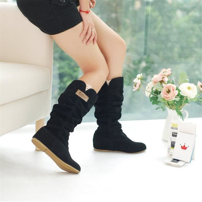 Botte Femme Hiver Sexy Mode Confortable bottines BXFP-XZ015Noir40 nQUHsmd